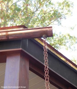 Modern rain chain used in our recent project in Connecticut