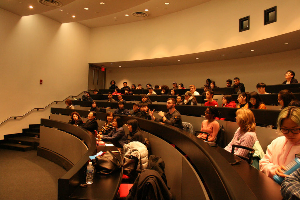 The audience at Stony Brook University engaged in the lively discussion